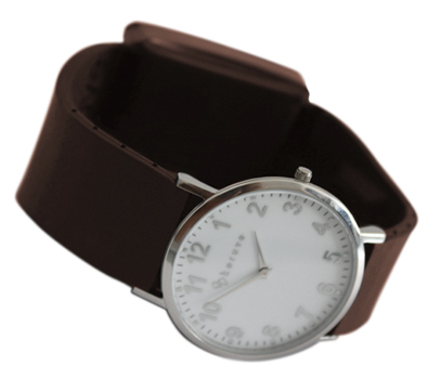 GPS watch for man with brown strap and white dial