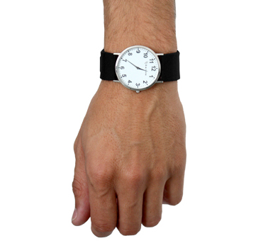 GPS watch for man with black strap and white dial