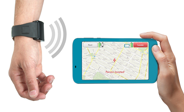 The Watch Is Worn By Person With Alzheimer On Their Wrist And Portable Receiver Used Caregiver